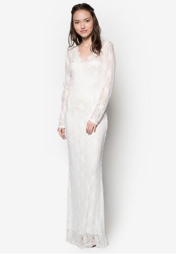 V 領蕾絲長洋裝,esprit高雄門市 服飾, 服飾