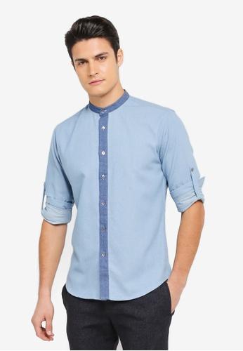 ZALORA blue Denim Mandarin Collar Long Sleeve Shirt E3088AA4E7CD86GS_1