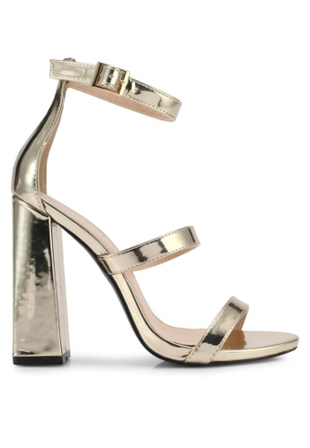 Public Desire gold Oyster Three Strap Block Heels PU378SH0SIQCMY_1