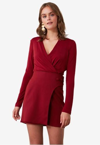 Trendyol red Side Button Detail Skirt 46CD5AA4CBF4F3GS_1