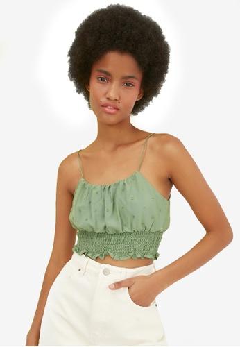 Trendyol green Thin Strap Shirred Crop Top E7625AA7813FAEGS_1