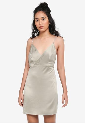TOPSHOP green Diamante Strap Mini Slip Dress 2A821AAA5CD76AGS_1