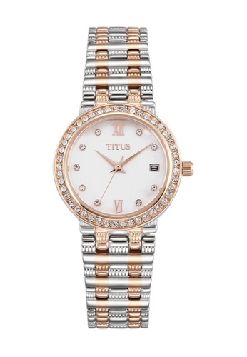 Solvil et Titus white and silver and gold Fair Lady Women's Quartz Analogue Watch in Crystal Bezel and Stainless Steel Bracelet 7A7BCACB3E3A8AGS_1