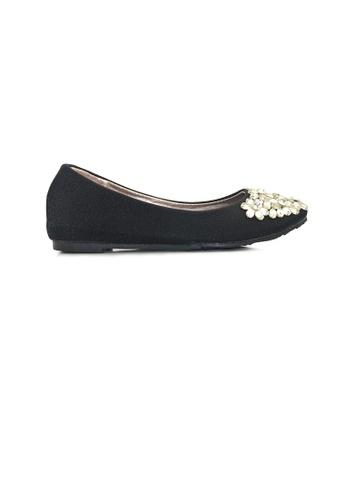 SHINE black Crystal Embellished Glitter Flats SH554SH01YKCSG_1