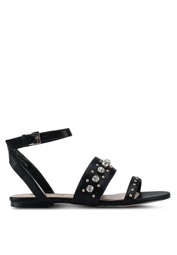 Miss KG 黑色 鑽飾繞帶平底涼鞋 3F1F5SHCDE8417GS_1