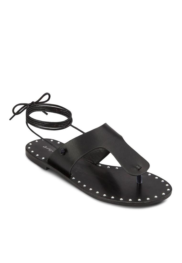 T Strap Lace Up Flat Sandals