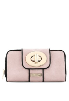 Colour Block Ladies Zip-Up Clutch Wallet With Turn Lock