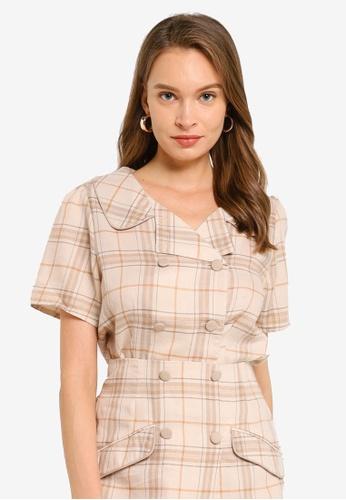 Heather beige Woven Double Button Shirt 4E33BAAAA43F98GS_1