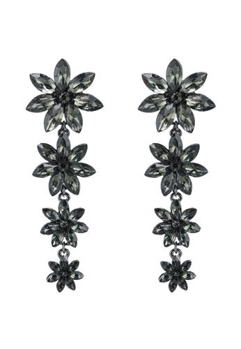 Red's Revenge grey Falling Flowers Gemstone Statement Earrings FB744AC3BAAF72GS_1