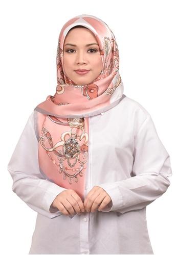 FATIMÉ multi Satin Square Hijab Diamond (Salmon) 7686FAA71511B6GS_1