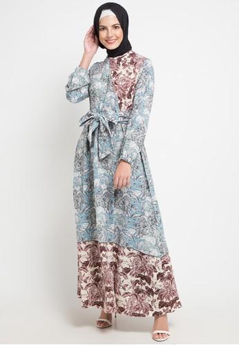Allea by Itang Yunasz blue and multi Ulfira Dress 2511AAA3B0D769GS_1
