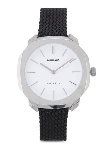 D1 Milano black and white and silver Super Slim Silver Case Black Perlon Strap 7049FAC129F478GS_1