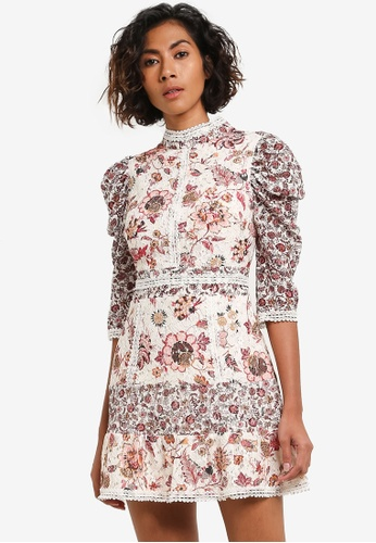TOPSHOP white and multi Floral Lace Strappy Back Mini Dress TO412AA0RJNPMY_1