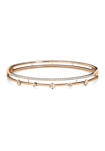 Her Jewellery gold Blossom Crystal Bangle (Rose Gold) - Made with premium grade crystals from Austria HE210AC69DNASG_1