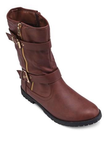 zalora taiwan 時尚購物網鞋子雙扣環高筒踝靴, 女鞋, 靴子