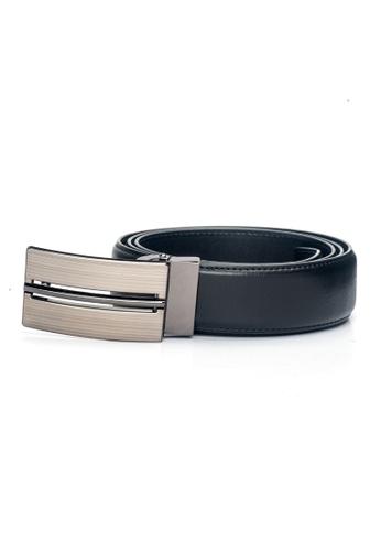 ENZODESIGN black Deluxe Plaque Buckle Mineacqua Pattern Leather Belt EN357AC0F590SG_1