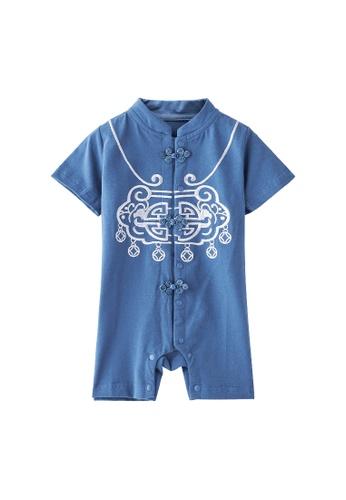 Little Kooma blue [BB05] Baby Boy Cheongsam Romper Ruyi Lock Dark Blue 0AEB9KAD7302A4GS_1