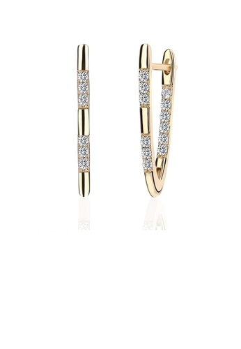 Glamorousky white Simple Fashion Letters Gold Plated V Earrings with Cubic Zircon 62989AC5EAFF67GS_1