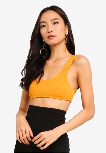 MISSGUIDED yellow Rib Sport Crop Bikini M&M Top D0112US00F5B54GS_1