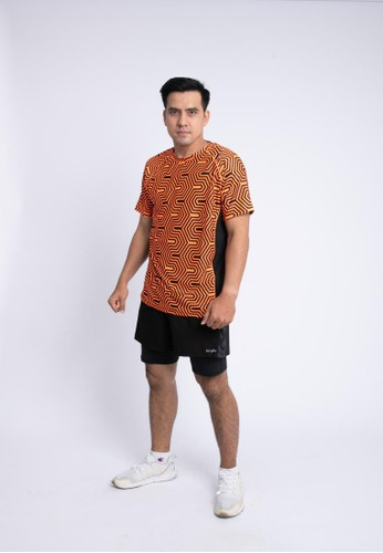 Trijee black and orange Trijee Men Short Sleeve Tee Halu Series 1 Orange F52A8AA8C2C56AGS_1