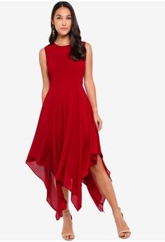54faebf60 ZALORA Evening Sheer Panels Handkerchief Dress S$ 49.90. Sizes XS S M L XL