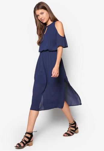 挖肩側esprit 品牌開衩連身裙, 服飾, 及膝洋裝