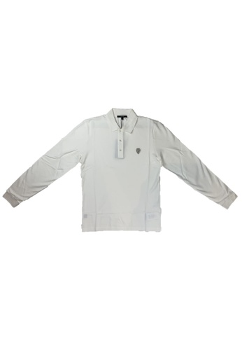 Gucci white GUCCI COTTON LONG SLEEVE POLO WITH ANCHOR CREST 93670AA5FD3E21GS_1