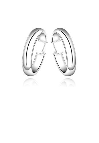 Glamorousky silver Simple and Fashion Geometric Circle Earrings 68E9BACE8C8B5BGS_1