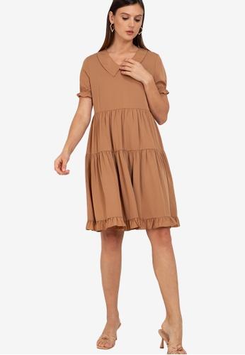 ZALORA WORK brown Tiered Contrast Collar Dress 112A3AA4842C05GS_1