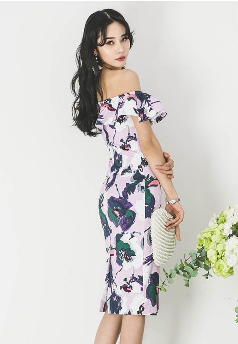 Sunnydaysweety Multi Floral New Off CA041801PU Piece 2018 S Shoulder S One Dress fqav7T6