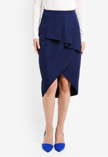 ZALORA blue Studio Asymmetrical Fold Skirt FB716AA05BD4D4GS_1