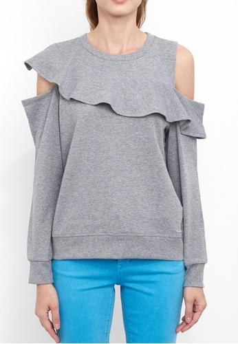 Dkny grey DKNY Women French Terry Ruffle Sweatshirt BB53BAA2535D30GS_1