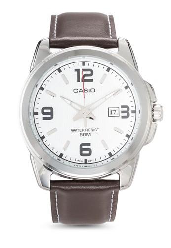 Enticeresprit outlet台北 圓框男士行針皮革手錶, 錶類, 飾品配件
