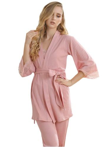 LYCKA 粉紅色 LCB8038-女士居家休閒睡衣三件套-粉紅色 B5774AA66D1DFCGS_1
