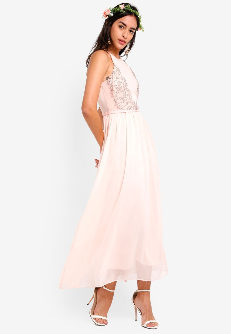 In Lace Cut Lace Pink Maxi Peach Panelled Bridesmaid Dress ZALORA qfB5zEt5xw