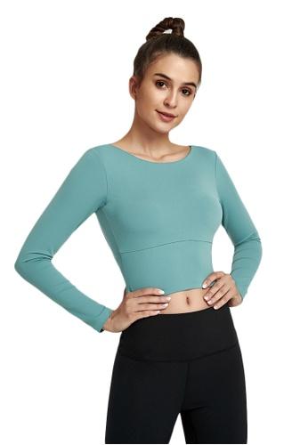 B-Code 藍色 ZWG1101a-女士時尚瑜珈運動健身上衣-藍色 6141CAAC12533EGS_1