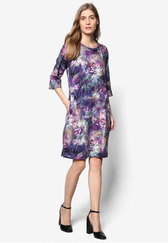 七分袖esprit 工作夢幻印花連身裙, 服飾, 洋裝