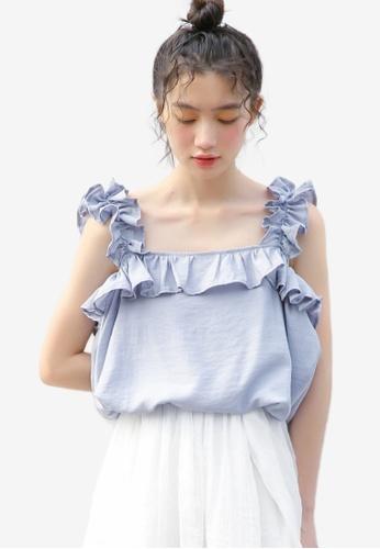 Shopsfashion blue Ruffles Sleeve Blouse C7361AA3C6EB62GS_1