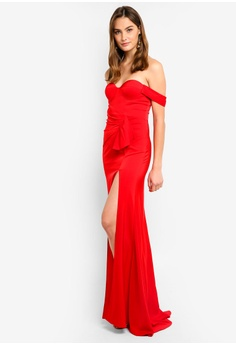 b5e3b844b95 Elle Zeitoune red Satin Fluid Gown With One Shoulder Detail  F9810AA90128F8GS 1