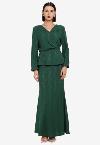 Zalia 綠色 Textured Wrap Kurung D4E26AAE4BDBC4GS_1