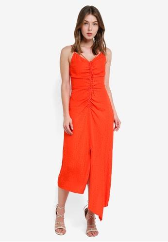 TOPSHOP 紅色 Star Jacquard Ruched Slip Dress E4BCCAAB451F69GS_1