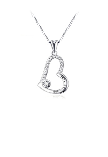Glamorousky white 925 Sterling Silver Fashion Simple Heart Pendant with Cubic Zirconia and Necklace 6FC28ACBEEC674GS_1