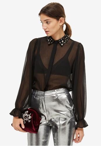 TOPSHOP black Star Print Collar Detail Shirt 256A8AA452E9BAGS_1