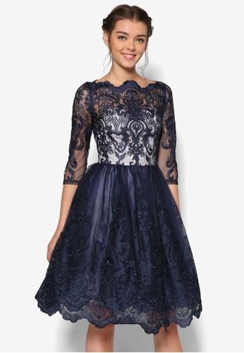 Diane 透膚esprit招聘蕾絲七分袖洋裝, 服飾, 洋裝
