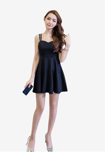 hk-ehunter black Camisole Solid Coloured A-Line Dress 435BAAA736A723GS_1