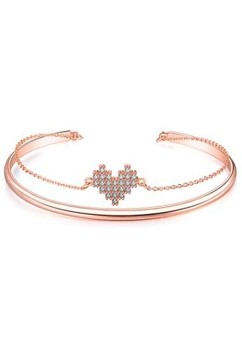 YOUNIQ YOUNIQ 18K Rosegold Lego Heart Steel Cuff Bangle Bracelet with Cubic Zirconia F115CAC295E89CGS_1