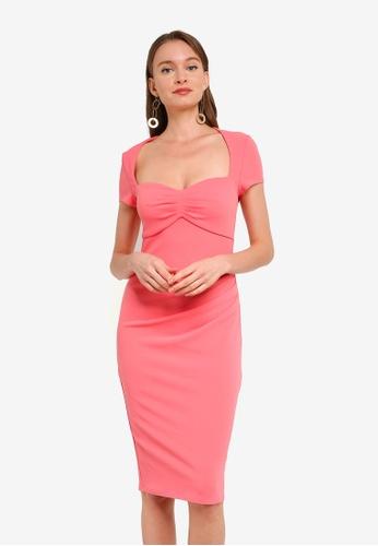Goddiva pink Heart Neck Midi Dress 122C3AA987219AGS_1