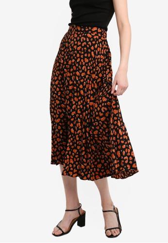 530179b30c Dorothy Perkins brown Brown Cheetah Print Pleated Midi Skirt  31978AA4744B44GS_1