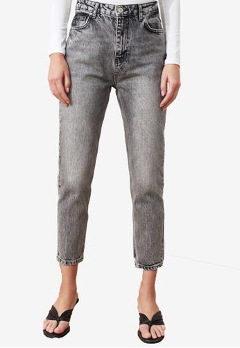 Trendyol grey Denim Wash High Waist Mom Jeans B82D0AA5BAF9D8GS_1
