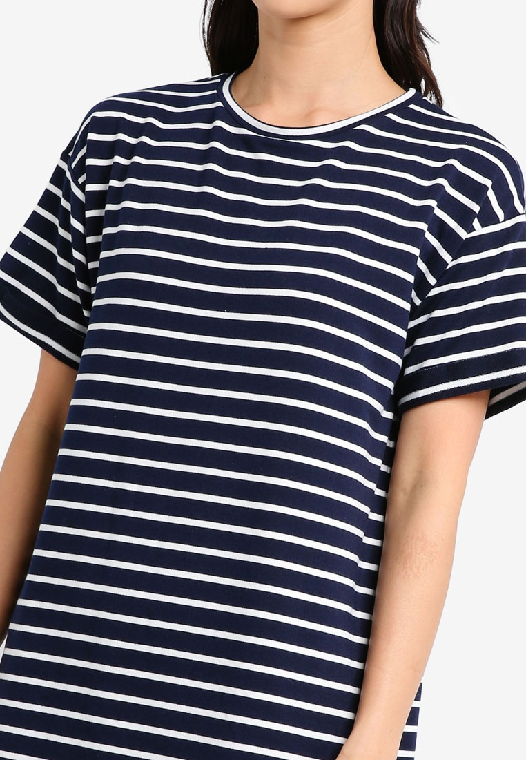 T Dress BASICS Navy ZALORA Pack amp; 2 Essential Shirt Stripe Black White Ow7EqW6I
